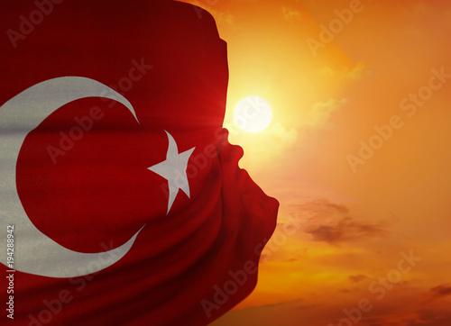 Türk Bayrağı ve Türkiye, 3D Sahne Çalışması Tapéta, Fotótapéta