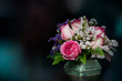 canvas print picture pink-white roses in vase with bokeh background