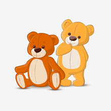 Seated And Standing Teddy Bears On White Background