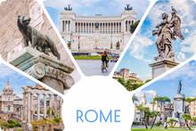 Photo Collage/set Of Sunny Rome - Roman Forum, Statue On Bridge Of Saint Angel, Piazza Venezia Main Attractions Of Roma, Italy.