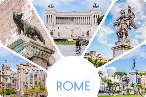 Fototapeta Photo collage/set of sunny Rome - Roman Forum, statue on bridge of Saint Angel, Piazza Venezia main attractions of Roma, Italy. obraz