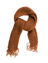 Brown Knitted Scarf On A White Background.