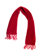Red Knitted Scarf On A White B...
