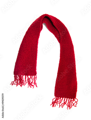 Fotografía Red knitted scarf on a white background.