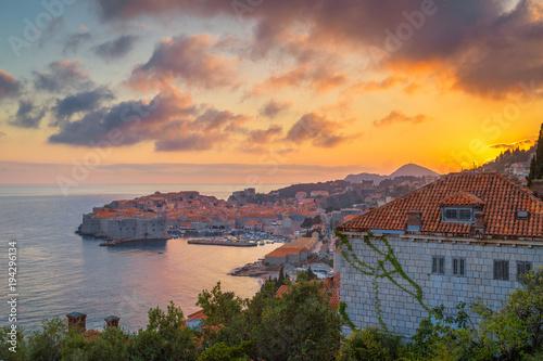 Canvas Prints Athens Old town of Dubrovnik at sunset, Dalmatia, Croatia