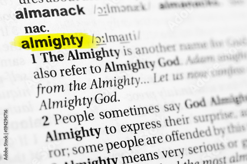 Highlighted English word almighty and its definition in the dictionary Canvas Print