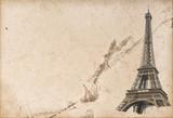 Fototapeta Paryż - Paris Eiffel tower Used paper texture