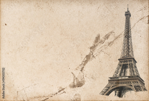 Paris Eiffel tower Used paper texture