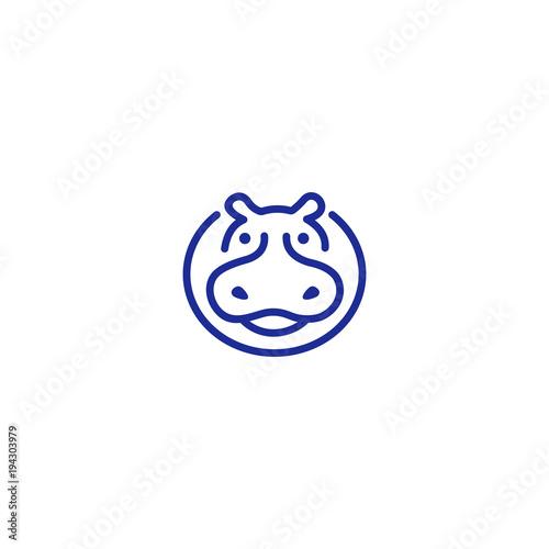 Canvas-taulu Hippo logo unique concepts minimalist graphic vector abstract