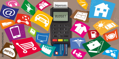 Fotografia, Obraz  budget - dépense - dépenses - acheter - achat - consommation - carte bleue - dép
