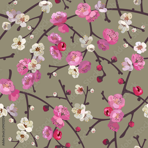 Cotton fabric   Seamless pattern with blooming sakura branches. Cherry blossoms floral background