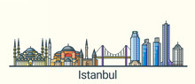 Banner Of Istanbul City In Flat Line Trendy Style. All Buildings Separated And Customizible. Line Art.
