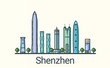 Banner of Shenzhen city in flat line trendy style. All buildings separated and customizable. Line art.