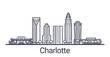 Linear banner of Charlotte city. All buildings - customizable different objects with clipping mask, so you can change background and composition. Line art.
