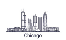 Linear Banner Of Chicago City. All Buildings - Customizable Different Objects With Clipping Mask, So You Can Change Background And Composition. Line Art.