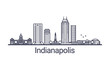 Linear banner of Indianapolis city. All buildings - customizable different objects with clipping mask, so you can change background and composition. Line art.