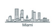Linear banner of Miami city. All buildings - customizable different objects with clipping mask, so you can change background and composition. Line art.