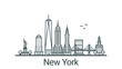 Linear banner of New York city. All buildings - customizable different objects with clipping mask, so you can change background and composition. Line art.