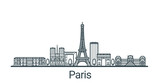 Fototapeta Fototapety Paryż - Linear banner of Paris city. All buildings - customizable different objects with clipping mask, so you can change background and composition. Line art.