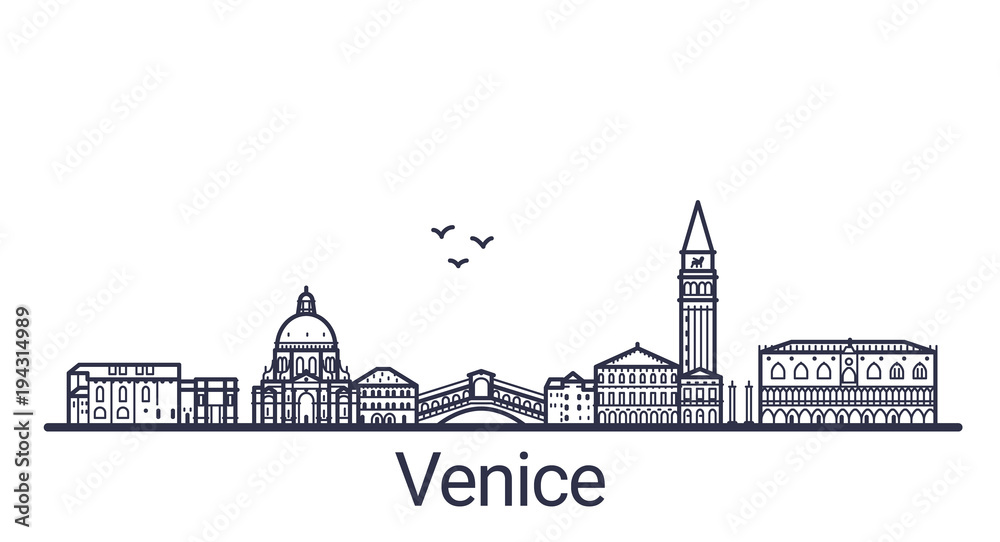 Fototapety, obrazy: Linear banner of Venice city. All buildings - customizable different objects with clipping mask, so you can change background and composition. Line art.