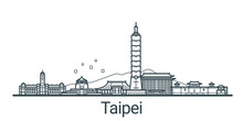 Linear Banner Of Taipei City. ...