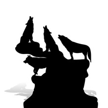 A Flock Of Wolves Howling At The Moon, On Top Of A Mountain, Silhouette On A White Background,
