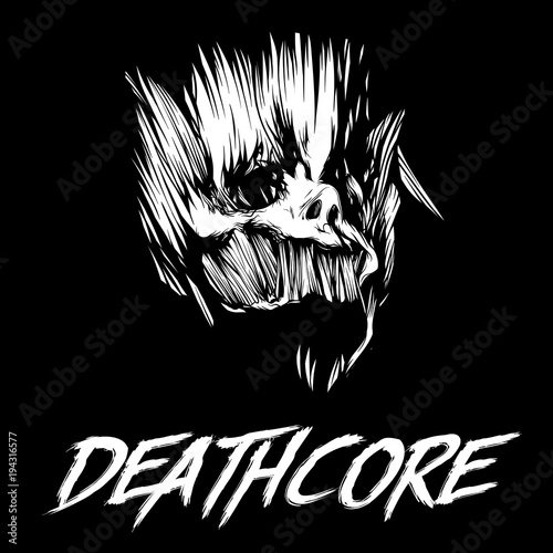 Skull of head above the inscription on Deathcore Wallpaper Mural