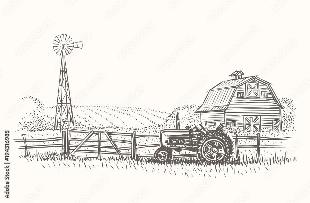 Obraz Rustic farm landscape hand drawn illustration. Vector.  fototapeta, plakat