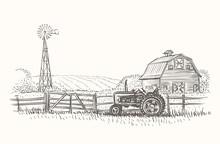 Rustic Farm Landscape Hand Drawn Illustration. Vector.