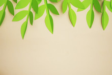 Leaves Paper Cut Textured Background With Shadow Seamless Texture. Tropical, Summer Leaves.