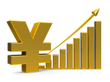 Business Graph Up With Yen Sign