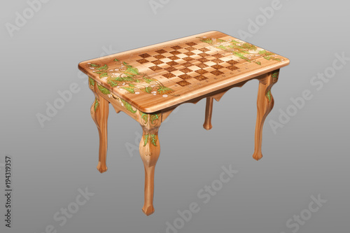 Fényképezés  Wooden inlaid chess table