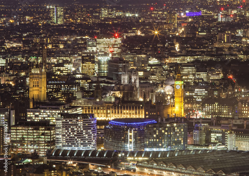 Big Ben and old Central London, aerial view at night