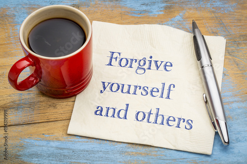 Cuadros en Lienzo Forgive yourself and others note on napkin