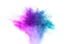 The Explosion Blue Purple Of Color Powder. Beautiful Powder Fly Away. The Cloud Of Glowing Color Powder On White Background
