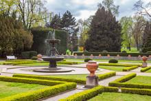 PRAGUE, CZECH REPUBLIC - APRIL, 25, 2017: The Singing Fountain In Kralovska Zahrada The Royal Gardens Park In Hradcany. Luxury Park Style.