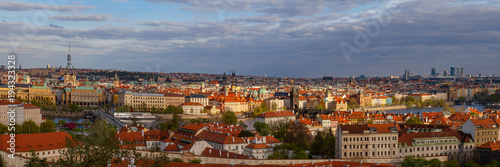 Staande foto Praag Sunset view of old town skyline with bridges and Vltava river from Hradcany castle. Skyline of Prague, Czech Republic. Wide panorama.