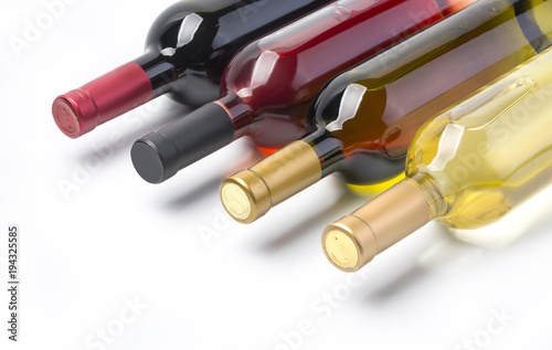 Fototapeta wine bottles isolated on white obraz