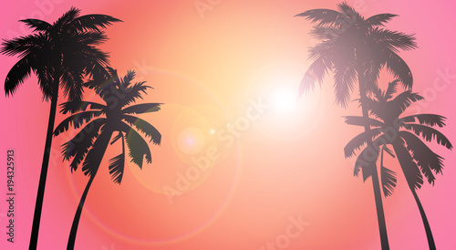 Photo sur Toile Corail Marine background, palm trees on sunset background