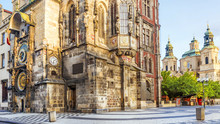Tower Of Town Hall With Astronomical Clock  In Prague, Czech Republic