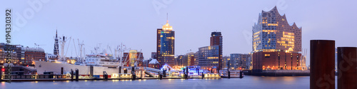 Wall Murals European Famous Place Elbe Philharmonic Hall (Elbphilharmonie) and River Elbe panorama in winter at morning with snow in Hamburg, Germany