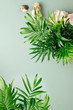 Tropical leaves on a green background with space for text. Top view, flat lay. Vacation concept
