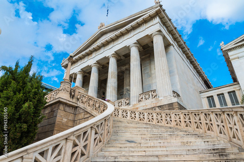 National library in the center of Athens Greece. One of the Trilogy of neoclassical buildings including the Academy of Athens and the original building of the Athens University in Panepistimiou street