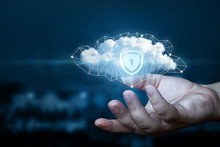 Hand Shows A Data Cloud With A Protective Shield.