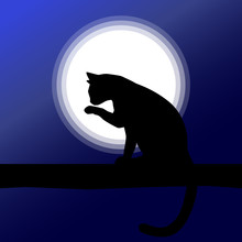 Simple Cat Silhouette Illustration. Cat Sitting On A Tree Branch, In Front Of The Moon. Night Sky (blue)