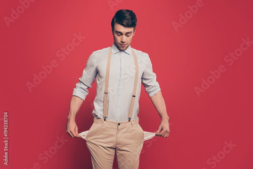 Valokuva  Professional, cunning magician, illusionist, gambler in casual outfit, showing t