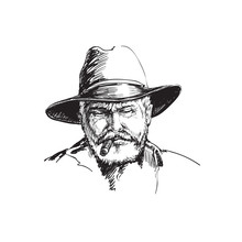 Portrait Cowboy, Farmer. Rancher . Hand Drawn Sketch  Illustration