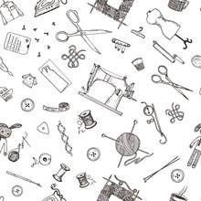 Seamless Pattern Of Sewing Tools And Materials Or Tools For Knitting Or Crochet For Needlework. Handmade Equipment. Tailor Shop. Engraved Hand Drawn Realistic In Old Vintage Sketch.