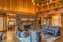 Upscale Rustic Living Room Wit...