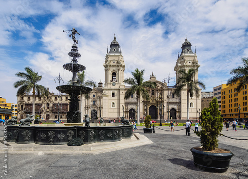 Cathedral of St John the Apostle and Evangelist, Plaza de Armas, Lima, Peru